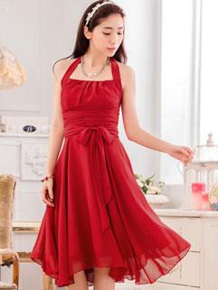 Party Halter Neck Backless Frilled Expansion Red Dress