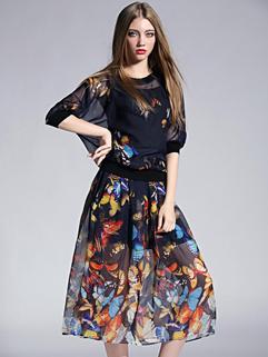 Euro American High Class Chiffon Lace Split Printed Elegant And Fashion Two Piece Dress