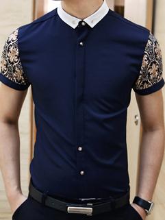 Fashion Men POLO Tee Korean Workman Style Floral Printed Sleeve Slim Handsome