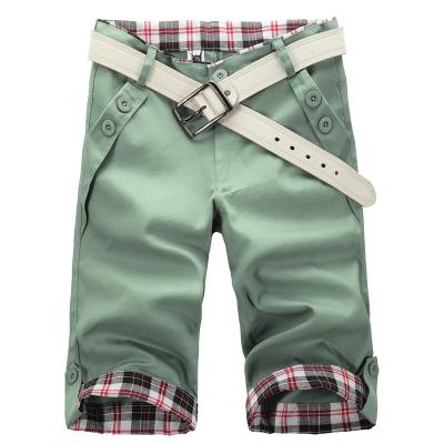 Fashion Men Shorts Light Green Japanese Style Straight Fashion Vintage Wrinkle