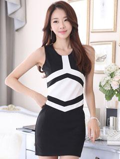 OL Style Contrast Color Sleeveless Cheap Sheath Dress