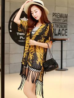 Wholesale Fashion Summer Women Leopard MD-Long Yellow Coat