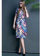 Brand New Women Striped Pockets Knee Length Dress