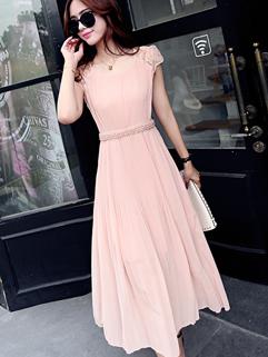 Wholesale Honey Girl Chiffon Pearls Zip Up Lace Split Cute Korean Dress