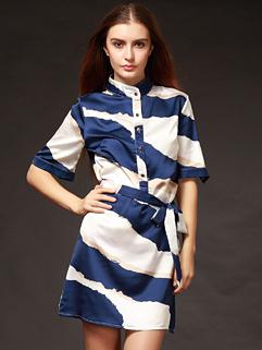 Temperament Stylish Women Printing Stand Collar Blue Bandage Dress