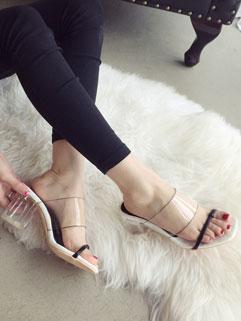 Summer Hot Korean Women See-through Chunky Heels Black Slippers