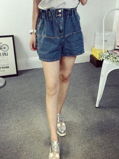 Japanese Style Elastic Waist Shallow Pockets Cheap Denim Short