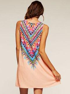 Hot Popular Ethnic Print Sleeveless Cheap Summer Dress