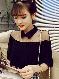 Individual Look Pleated Korean Style Gauze Split Blouse