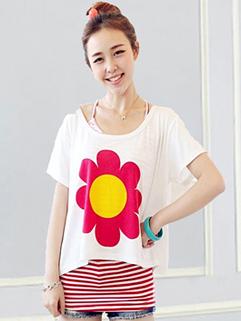 Wholesale Women's Fashion Flower Printing Bat Sleeve T-shirts