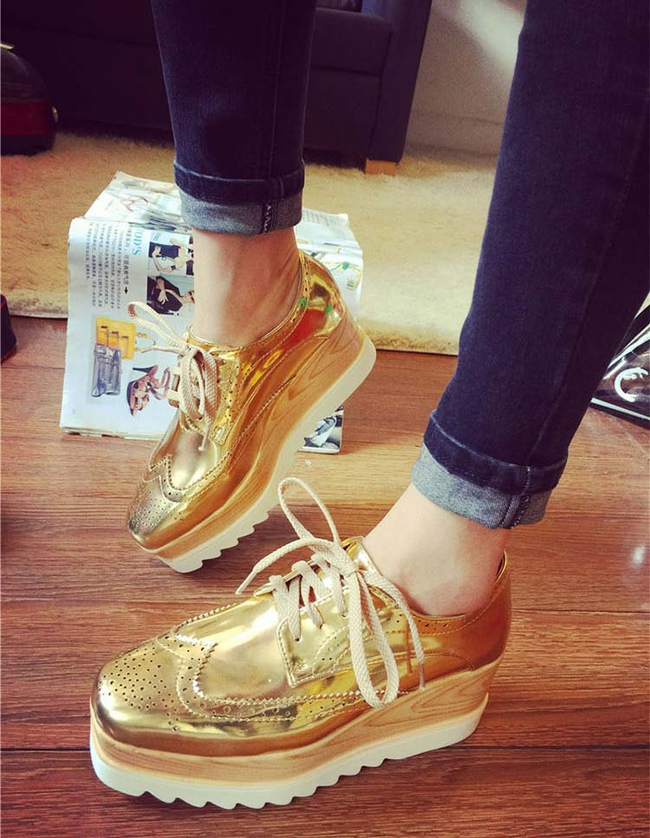 Latest Fashion Lace-up Wood Grain Glittering Korean Shoes Wholesale Shoes