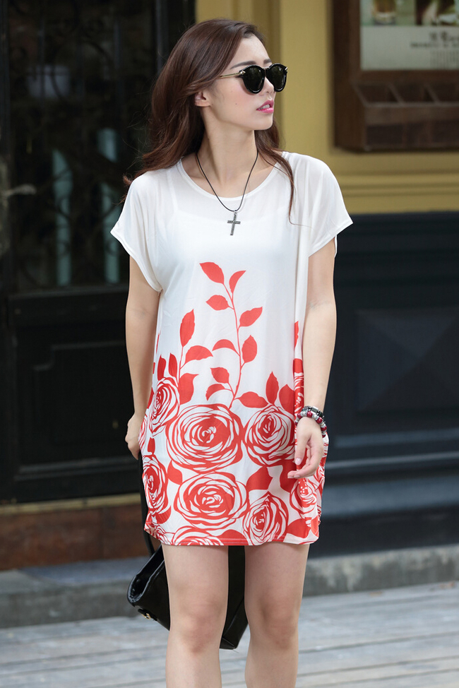 Korean Stylish Cheap Printed Loose Bat Sleeve T-Shirts