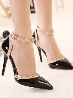 Women Size 35-40 Night Club Wear Cozy Black Color Pump Rivets One-buckle Belt Pointed Toe Thin Heel Pump