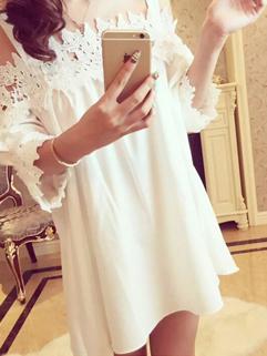 Latest Design Women Straps Dress Beautiful Grace Lace Floral White Princess Dress
