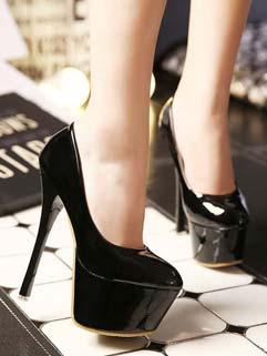 Sexy Round Toe High Heels Pumps Black Pumps