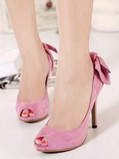 Sweet Back Bow Peep Toe Pink Pumps Suede Pumps