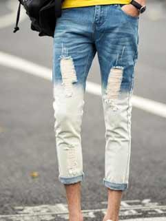 Vintage Men Jeans Latest Design Straight Fashion Casual Hole Zipper Up