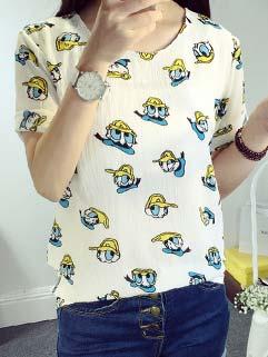 Easy Matching Donald Duck Short Sleeve Chiffon T shirt