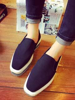 Casual Style Square Toe Denim Shoes Womans Platforms