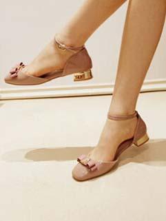 Ladylike Metallic Heels Bowknot Round Toe A Buckle Korean Sandals