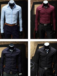 Simple Work Men Shirt Korean Style Slim Solid Color Latest Autumn Design