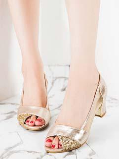 Glittering Chunky Heels See-through Peep Toe OL Sandals Golden Sandals