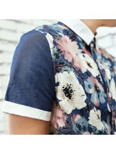 Casual Fashion Men Shirt Europe And America Style Handsome Floral Printed