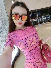 High Quality Fashion Geometric Print Smart Waist Pencil Dress Tight Dress