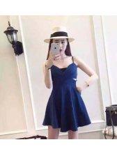 2015 Summer V-neck Hollow Out Backless Korean Dress Denim Dress
