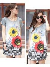 Summer Fashion Korean Printed Bat Sleeve Women T-Shirts