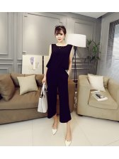 Euro American Stylish Solid Color Sleeveless Jumpsuit
