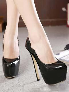Solid Color Super High Heels Round Toe Ripple Edge Black Pumps Club Pumps