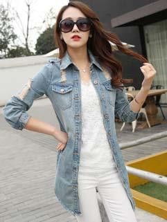 Korean Style Lapel Flap Pockets Scuffed Denim Coat