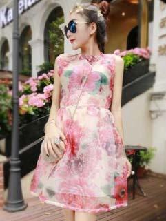 Euro Style Flower Print Smart Waist Fluffy Elegant Dress Vintage Dress