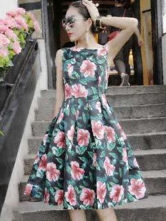 High Quality Flower Print High Waisted Fluffy Vintage Dress Sun Dress
