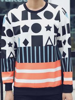 Vanguard Cool Men Tee London Style Long Sleeve Warm Comfortable Geometric Print