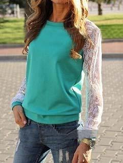 2015 Autumn Lace Sleeve Slim Fit Womans Hoodie