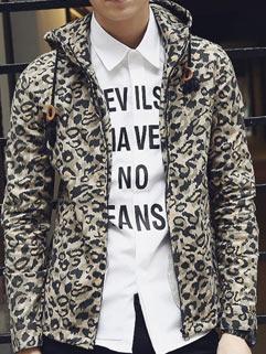 Vanguard Street Men Hoodies Korean Style Fashion Young Cool Leopard Printed