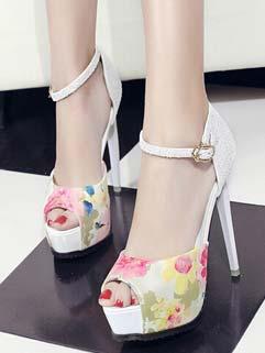 Flower Print Peep Toe Glittering High Heels Pumps Wholesale Pumps