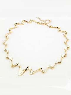 Euro Style Metallic Ripple Elegant Necklace