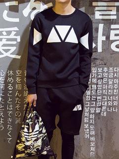 Latest Design Men Activewear Korean Style Sport Cool Active Loose Geometric Printed