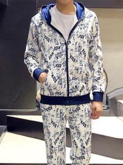 Korean Style Men Activewear Sportsmen Floral Printed Hoodie Zipper Up Top