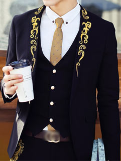 Handsome Street Men Suit Latest Design Korean Style Slim Gilding Embroidery Collar