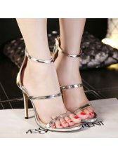 Ladylike Back Zip Anklet Thin Heels Silvery Pumps Cheap Pumps