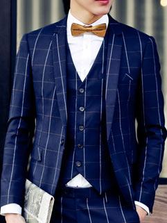 Wedding Bridegroom Handsome Men Suit Korean Style Slim Charming Striped Printed
