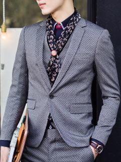 Business Gentlemen Handsome Men Suit Korean Style Warm Handsome Solid Color
