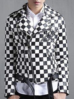 2015 Latest Design Men Leather Jacket Korean Street Style Slim Block Printed