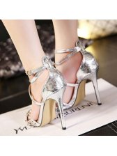 New Arrival Front Cross Rivets A Buckle Cheap Shoes Silvery Pumps