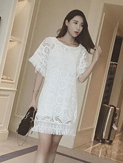 Stunning Fringe Design White Two Piece Dress For Women