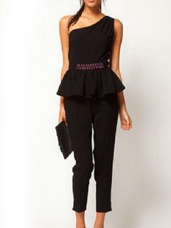 Modern Black Paillette Ruffled Beam Waist Jumpsuit For Women